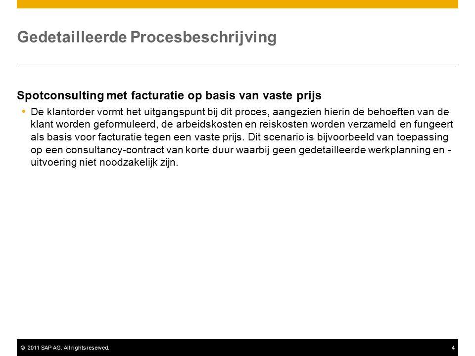 ©2011 SAP AG. All rights reserved.4 Gedetailleerde Procesbeschrijving Spotconsulting met facturatie op basis van vaste prijs  De klantorder vormt het