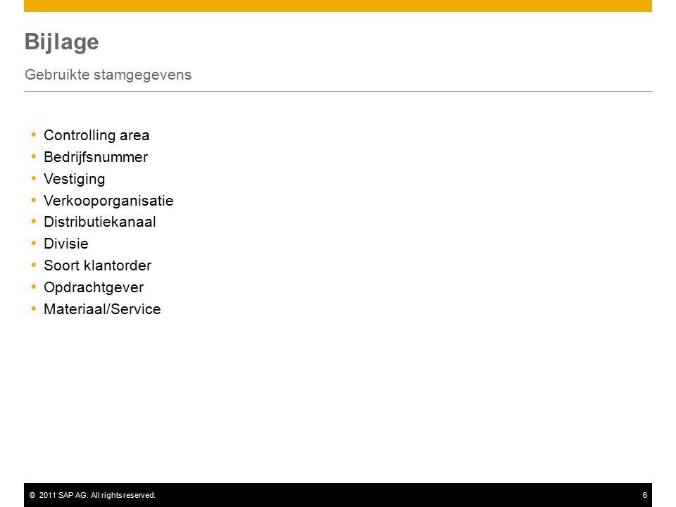 ©2011 SAP AG. All rights reserved.6 Bijlage Gebruikte stamgegevens  Controlling area  Bedrijfsnummer  Vestiging  Verkooporganisatie  Distributiek