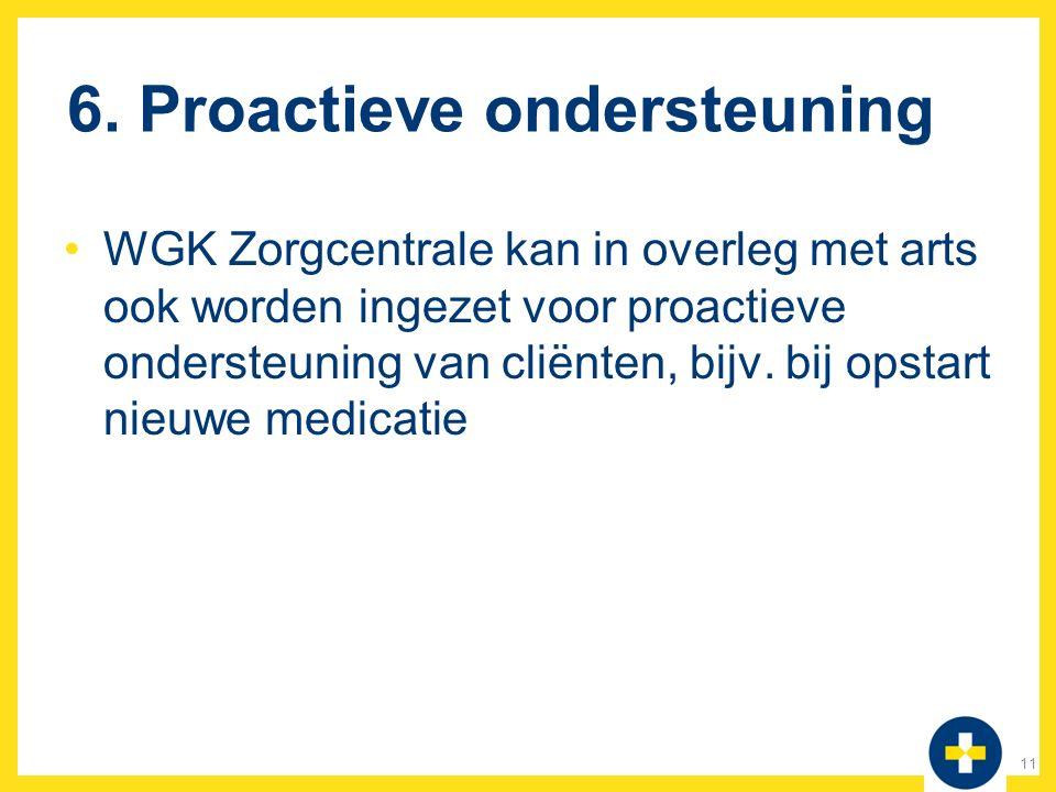 6. Proactieve ondersteuning WGK Zorgcentrale kan in overleg met arts ook worden ingezet voor proactieve ondersteuning van cliënten, bijv. bij opstart