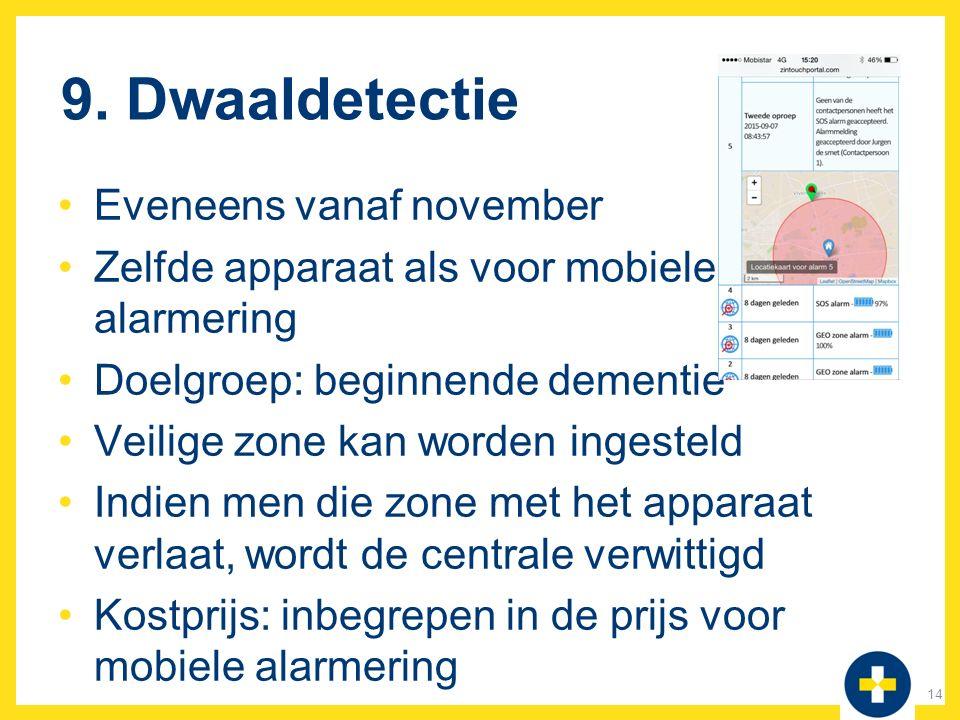 9. Dwaaldetectie Eveneens vanaf november Zelfde apparaat als voor mobiele alarmering Doelgroep: beginnende dementie Veilige zone kan worden ingesteld