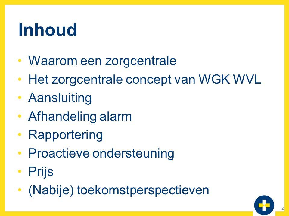 Inhoud Waarom een zorgcentrale Het zorgcentrale concept van WGK WVL Aansluiting Afhandeling alarm Rapportering Proactieve ondersteuning Prijs (Nabije)