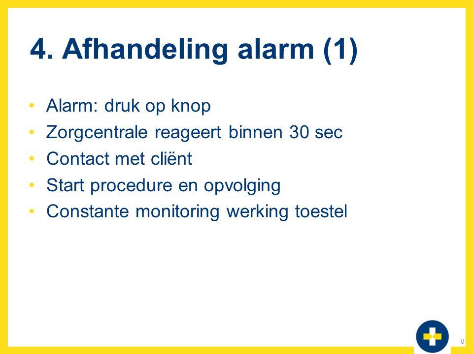 4. Afhandeling alarm (1) Alarm: druk op knop Zorgcentrale reageert binnen 30 sec Contact met cliënt Start procedure en opvolging Constante monitoring