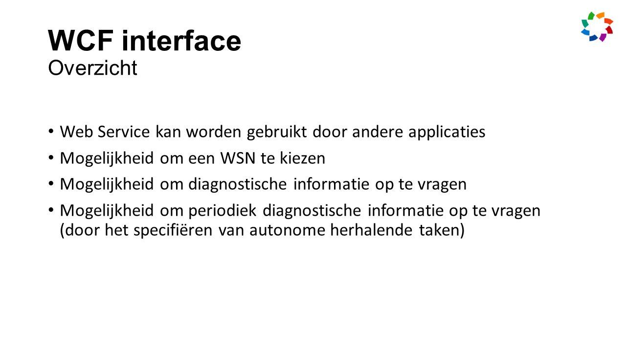 WCF interface Overzicht Web Service kan worden gebruikt door andere applicaties Mogelijkheid om een WSN te kiezen Mogelijkheid om diagnostische informatie op te vragen Mogelijkheid om periodiek diagnostische informatie op te vragen (door het specifiëren van autonome herhalende taken)