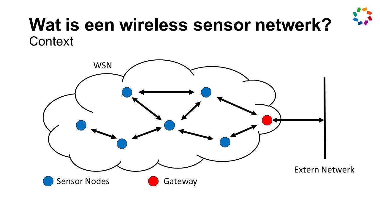 Wat is een wireless sensor netwerk Context Sensor NodesGateway WSN Extern Netwerk
