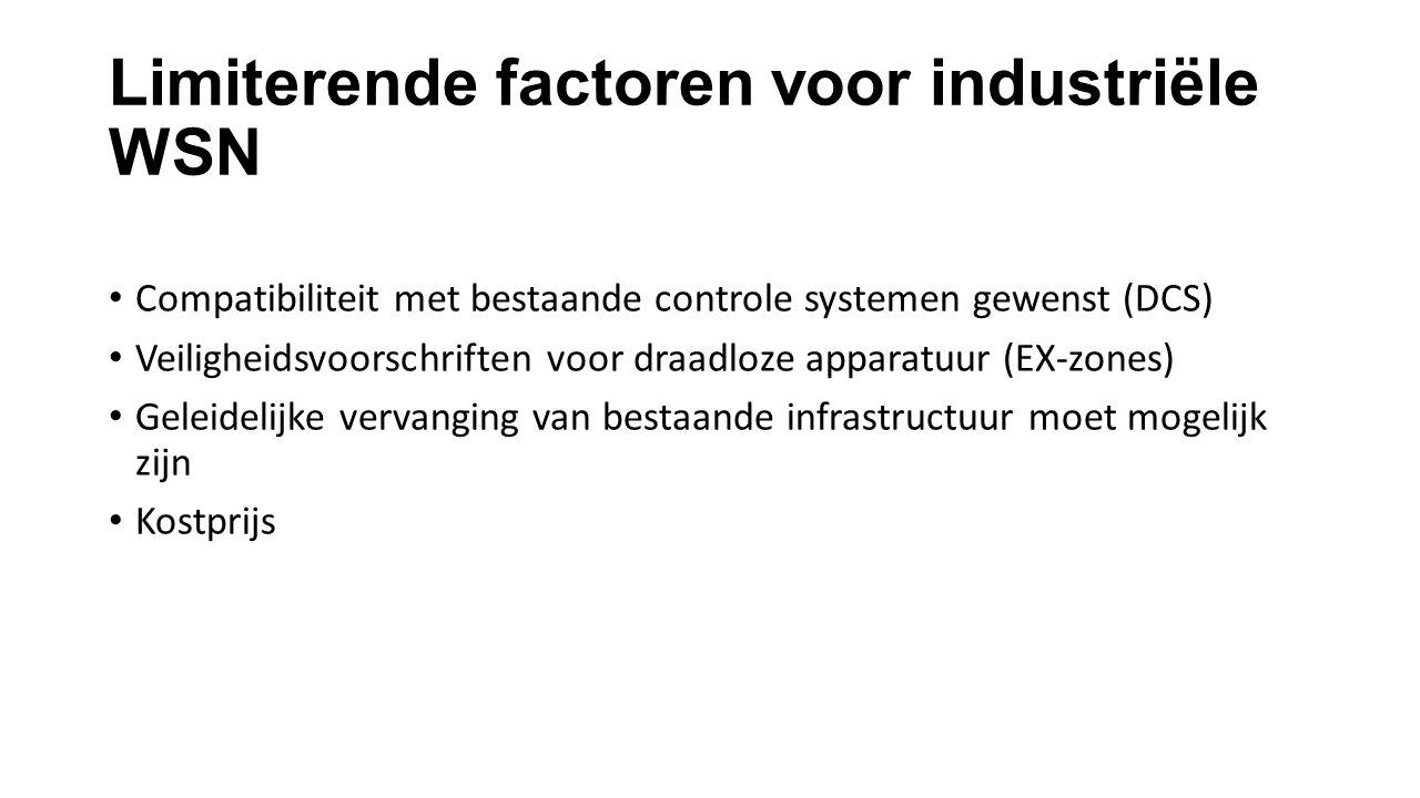 Limiterende factoren voor industriële WSN Compatibiliteit met bestaande controle systemen gewenst (DCS) Veiligheidsvoorschriften voor draadloze apparatuur (EX-zones) Geleidelijke vervanging van bestaande infrastructuur moet mogelijk zijn Kostprijs