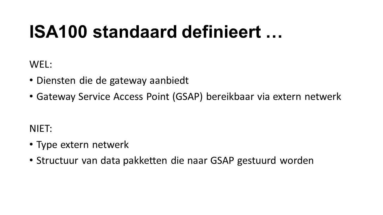 ISA100 standaard definieert … WEL: Diensten die de gateway aanbiedt Gateway Service Access Point (GSAP) bereikbaar via extern netwerk NIET: Type extern netwerk Structuur van data pakketten die naar GSAP gestuurd worden