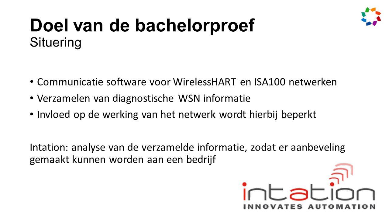 Doel van de bachelorproef Situering Communicatie software voor WirelessHART en ISA100 netwerken Verzamelen van diagnostische WSN informatie Invloed op de werking van het netwerk wordt hierbij beperkt Intation: analyse van de verzamelde informatie, zodat er aanbeveling gemaakt kunnen worden aan een bedrijf