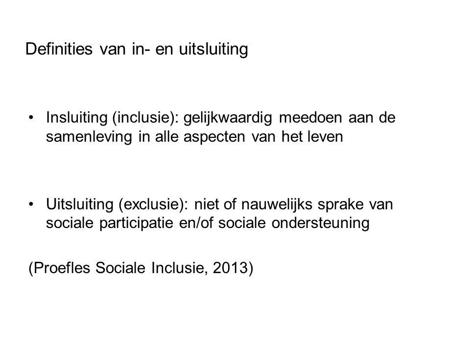 Definities van in- en uitsluiting Insluiting (inclusie): gelijkwaardig meedoen aan de samenleving in alle aspecten van het leven Uitsluiting (exclusie): niet of nauwelijks sprake van sociale participatie en/of sociale ondersteuning (Proefles Sociale Inclusie, 2013)