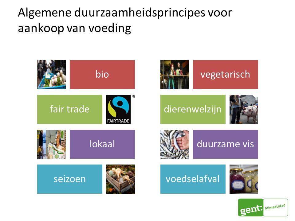 Algemene duurzaamheidsprincipes voor aankoop van voeding vegetarisch dierenwelzijn duurzame vis voedselafval bio fair trade lokaal seizoen