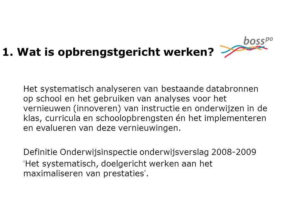 1. Wat is opbrengstgericht werken? Het systematisch analyseren van bestaande databronnen op school en het gebruiken van analyses voor het vernieuwen (