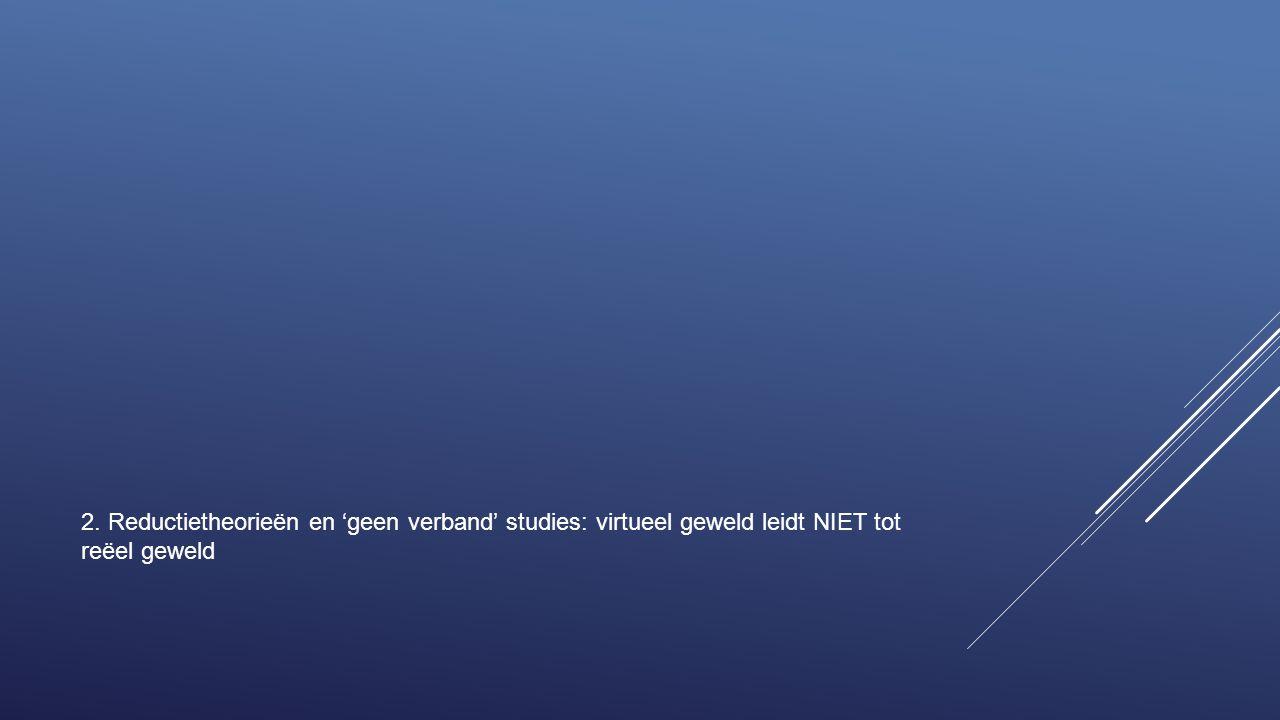 2. Reductietheorieën en 'geen verband' studies: virtueel geweld leidt NIET tot reëel geweld