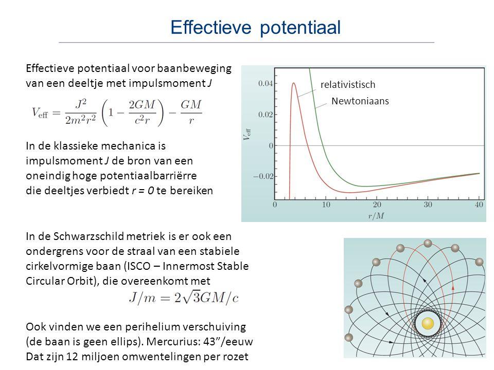 Effectieve potentiaal Effectieve potentiaal voor baanbeweging van een deeltje met impulsmoment J In de Schwarzschild metriek is er ook een ondergrens voor de straal van een stabiele cirkelvormige baan (ISCO – Innermost Stable Circular Orbit), die overeenkomt met Ook vinden we een perihelium verschuiving (de baan is geen ellips).