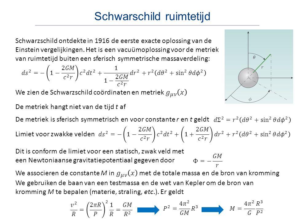 Geometrische eenheden Schwarzschild metriek in [ kg m s ] eenheden Als we c = 1 gebruiken, dan krijgen we [ kg m ] eenheden en hebben ruimte en tijd dezelfde eenheid: [ m ] Als we ook G = 1 gebruiken, dan kunnen we massa uitdrukken in lengte Deze natuurlijke eenheid is gebruikelijk in de SRT Dergelijke geometrische eenheden zijn gebruikelijk in de ART