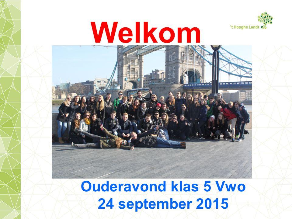 Welkom Ouderavond klas 5 Vwo 24 september 2015