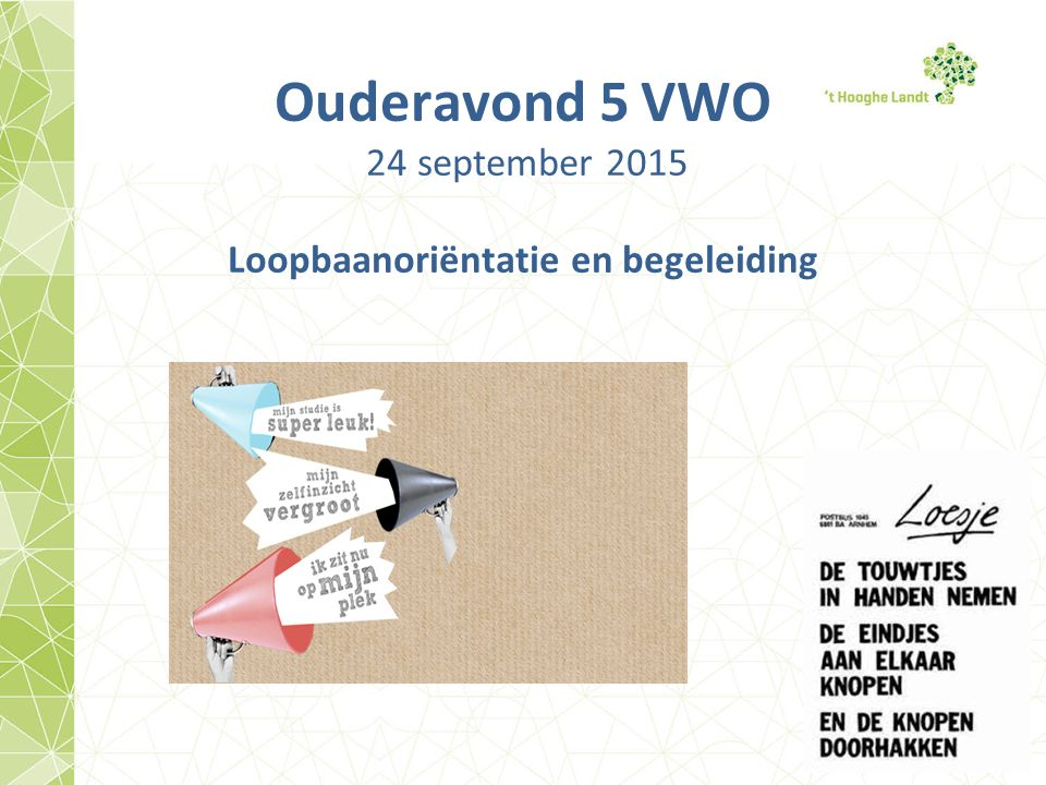 Ouderavond 5 VWO 24 september 2015 Loopbaanoriëntatie en begeleiding