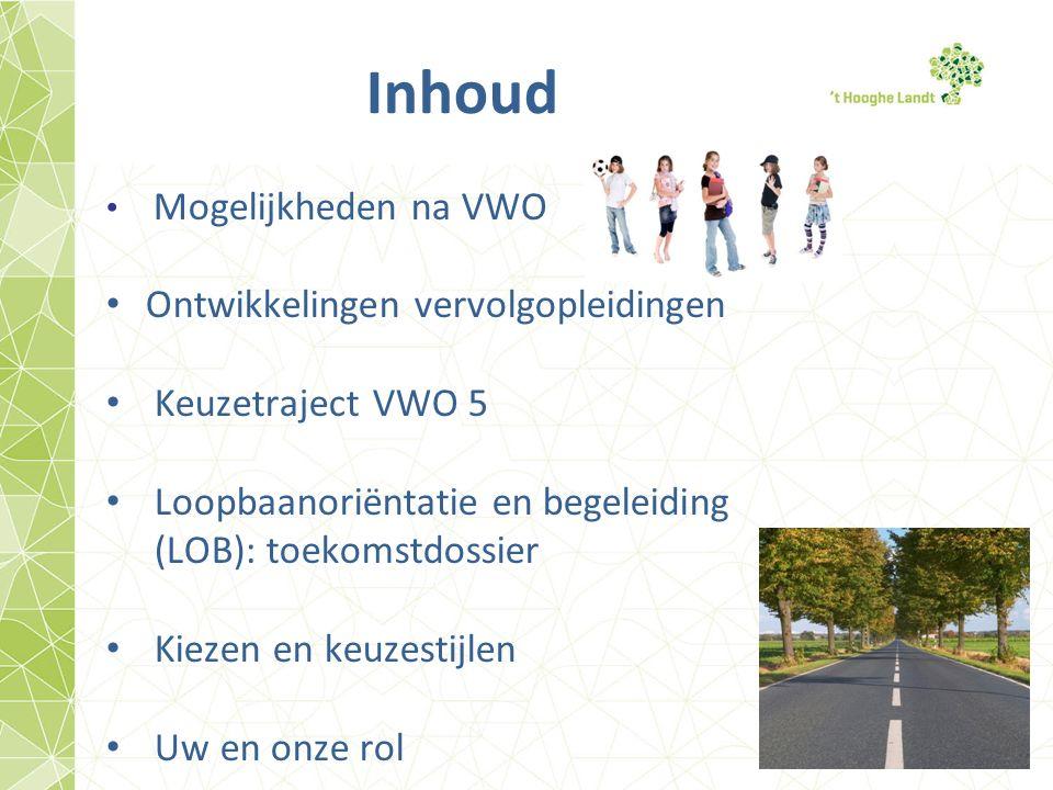 Inhoud Mogelijkheden na VWO Ontwikkelingen vervolgopleidingen Keuzetraject VWO 5 Loopbaanoriëntatie en begeleiding (LOB): toekomstdossier Kiezen en keuzestijlen Uw en onze rol