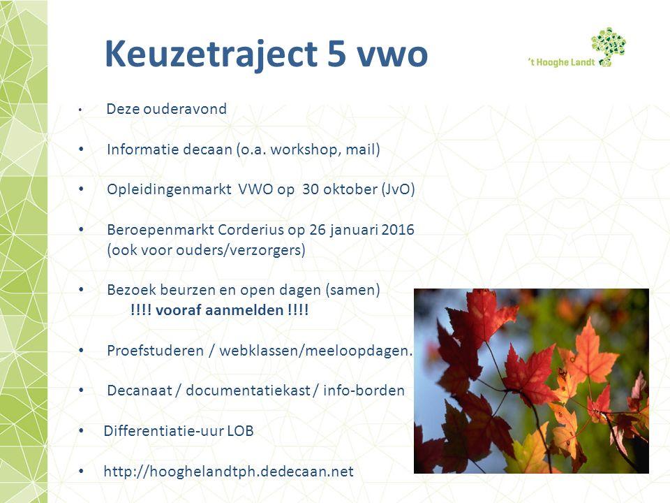 Keuzetraject 5 vwo Deze ouderavond Informatie decaan (o.a.