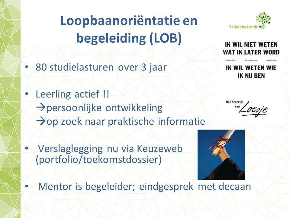 Loopbaanoriëntatie en begeleiding (LOB) 80 studielasturen over 3 jaar Leerling actief !.