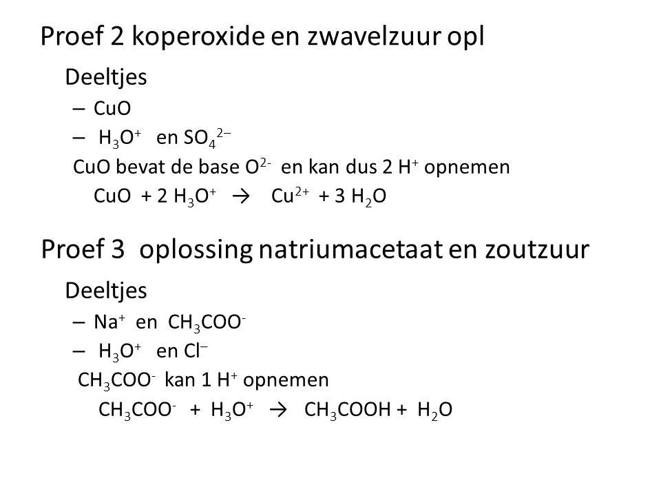 Proef 2 koperoxide en zwavelzuur opl Deeltjes – CuO – H 3 O + en SO 4 2─ CuO bevat de base O 2- en kan dus 2 H + opnemen CuO + 2 H 3 O + → Cu 2+ + 3 H 2 O Deeltjes – Na + en CH 3 COO - – H 3 O + en Cl ─ CH 3 COO - kan 1 H + opnemen CH 3 COO - + H 3 O + →CH 3 COOH + H 2 O Proef 3 oplossing natriumacetaat en zoutzuur
