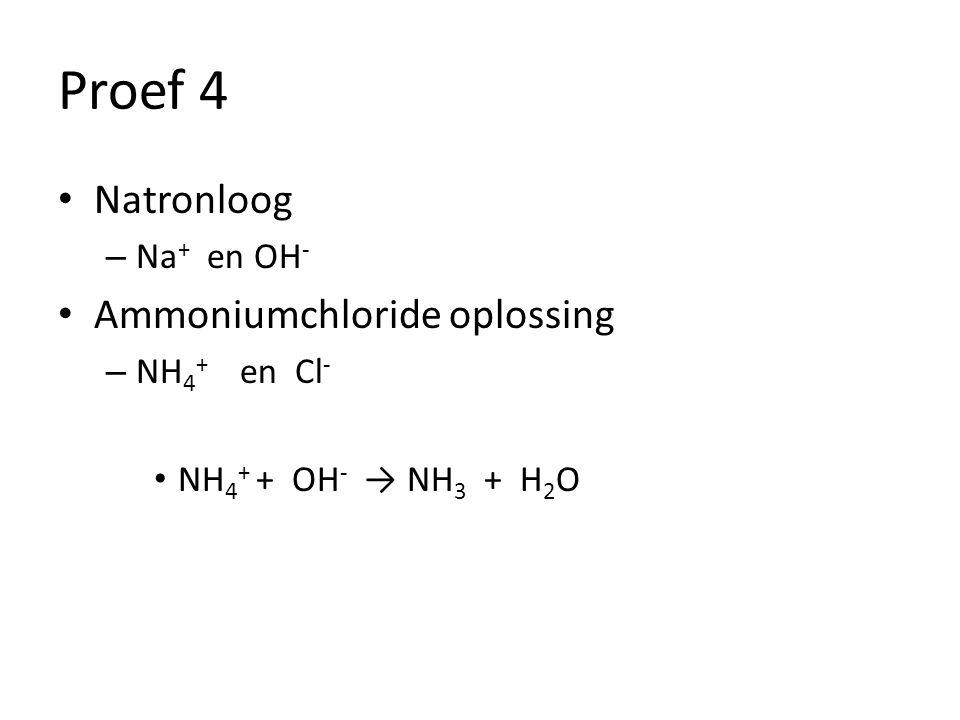 Proef 4 Natronloog – Na + en OH - Ammoniumchloride oplossing – NH 4 + en Cl - NH 4 + + OH - → NH 3 + H 2 O