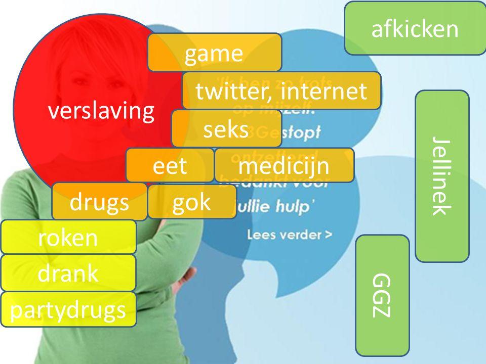 verslaving game GGZ Jellinek drugs roken partydrugs drank afkicken twitter, internet seks eet gok medicijn