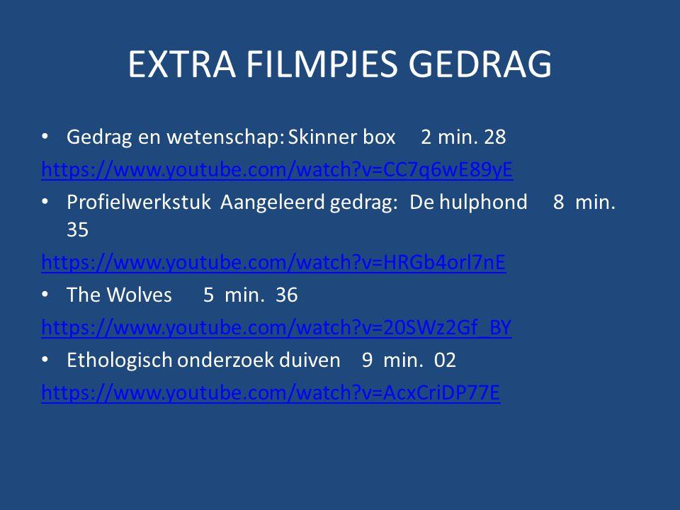 EXTRA FILMPJES GEDRAG Gedrag en wetenschap: Skinner box 2 min.