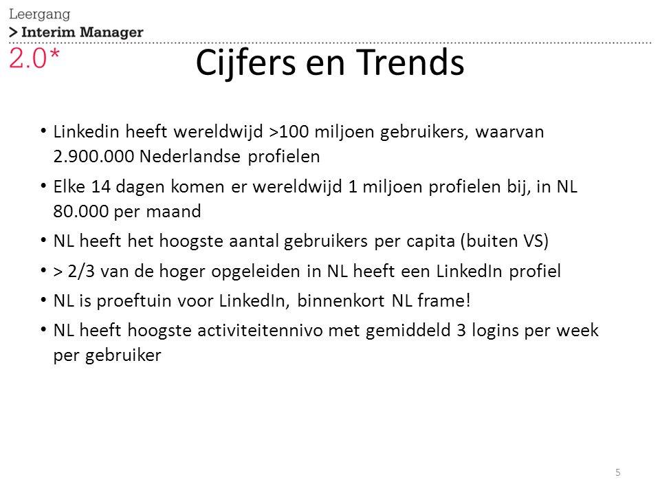 Cijfers en Trends Linkedin heeft wereldwijd >100 miljoen gebruikers, waarvan 2.900.000 Nederlandse profielen Elke 14 dagen komen er wereldwijd 1 miljoen profielen bij, in NL 80.000 per maand NL heeft het hoogste aantal gebruikers per capita (buiten VS) > 2/3 van de hoger opgeleiden in NL heeft een LinkedIn profiel NL is proeftuin voor LinkedIn, binnenkort NL frame.