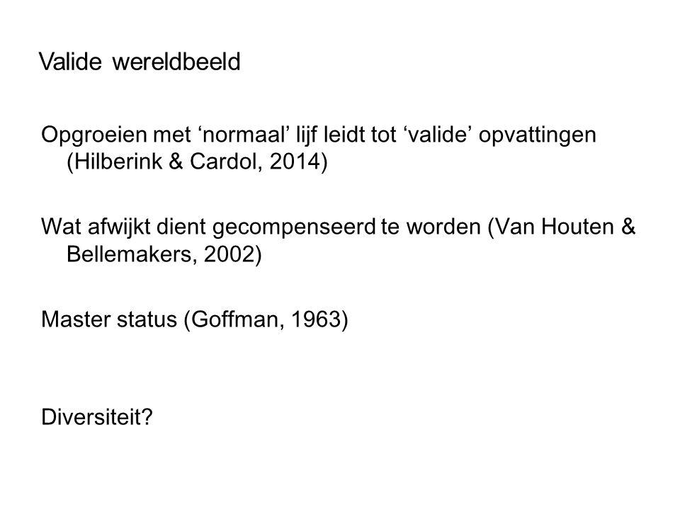 Valide wereldbeeld Opgroeien met 'normaal' lijf leidt tot 'valide' opvattingen (Hilberink & Cardol, 2014) Wat afwijkt dient gecompenseerd te worden (V