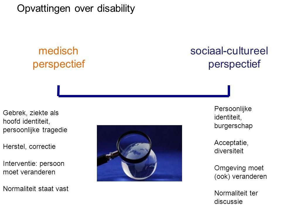 Opvattingen over disability medisch perspectief sociaal-cultureel perspectief Gebrek, ziekte als hoofd identiteit, persoonlijke tragedie Herstel, corr