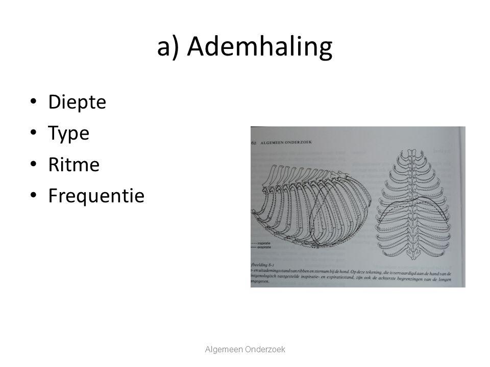 b) Pols Palpatie van een arterie (femoralis, facialis) Frequentie (waardoor beïnvloed.