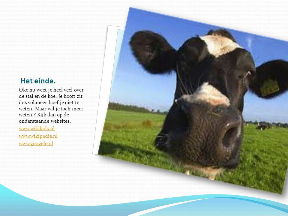 Het einde.Oke nu weet je heel veel over de stal en de koe.