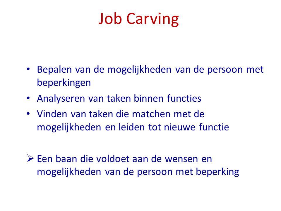 Job Carving Bepalen van de mogelijkheden van de persoon met beperkingen Analyseren van taken binnen functies Vinden van taken die matchen met de mogel