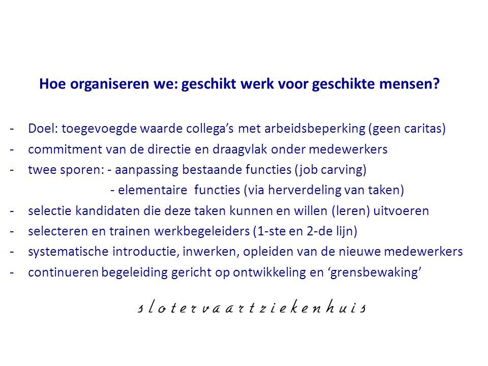 Hoe organiseren we: geschikt werk voor geschikte mensen? -Doel: toegevoegde waarde collega's met arbeidsbeperking (geen caritas) -commitment van de di