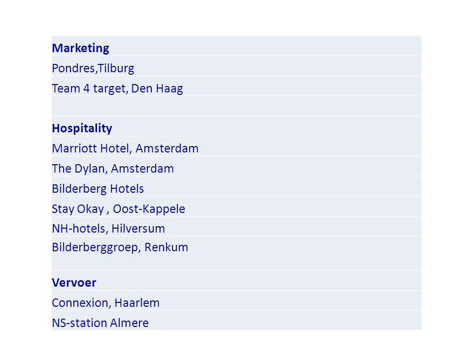 Marketing Pondres,Tilburg Team 4 target, Den Haag Hospitality Marriott Hotel, Amsterdam The Dylan, Amsterdam Bilderberg Hotels Stay Okay, Oost-Kappele NH-hotels, Hilversum Bilderberggroep, Renkum Vervoer Connexion, Haarlem NS-station Almere