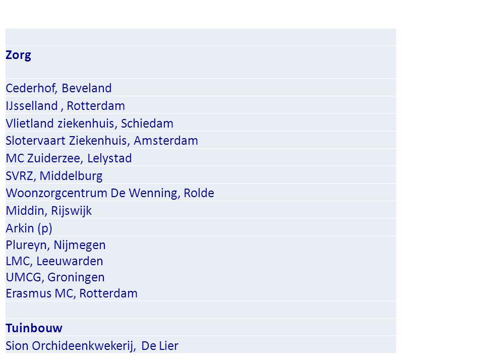 Zorg Cederhof, Beveland IJsselland, Rotterdam Vlietland ziekenhuis, Schiedam Slotervaart Ziekenhuis, Amsterdam MC Zuiderzee, Lelystad SVRZ, Middelburg Woonzorgcentrum De Wenning, Rolde Middin, Rijswijk Arkin (p) Plureyn, Nijmegen LMC, Leeuwarden UMCG, Groningen Erasmus MC, Rotterdam Tuinbouw Sion Orchideenkwekerij, De Lier