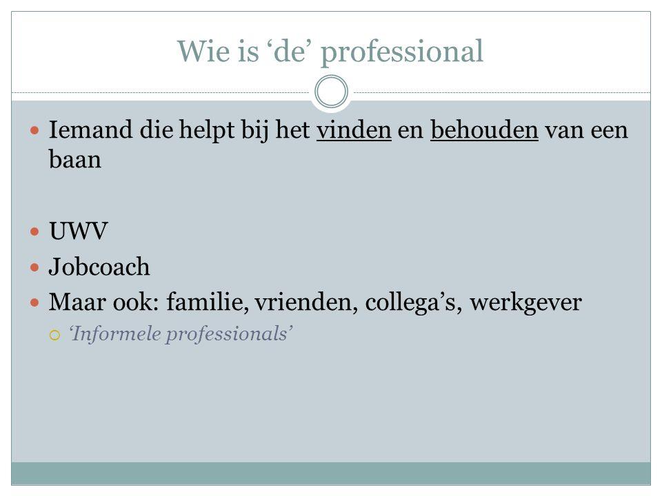 Wie is 'de' professional Iemand die helpt bij het vinden en behouden van een baan UWV Jobcoach Maar ook: familie, vrienden, collega's, werkgever  'Informele professionals'