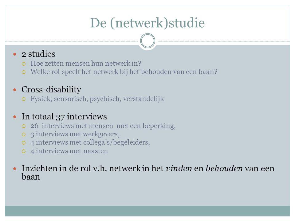 De (netwerk)studie 2 studies  Hoe zetten mensen hun netwerk in?  Welke rol speelt het netwerk bij het behouden van een baan? Cross-disability  Fysi