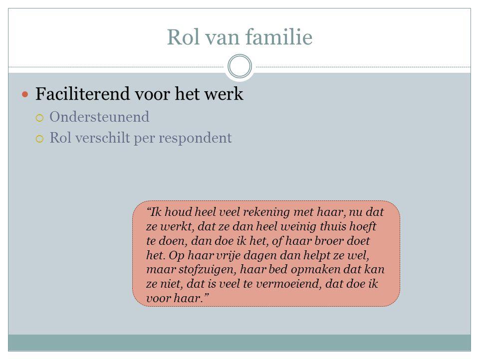 """Rol van familie Faciliterend voor het werk  Ondersteunend  Rol verschilt per respondent """"Ik houd heel veel rekening met haar, nu dat ze werkt, dat z"""