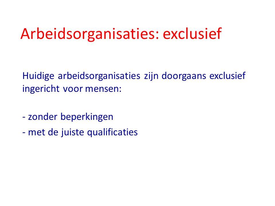 Arbeidsorganisaties: exclusief Huidige arbeidsorganisaties zijn doorgaans exclusief ingericht voor mensen: - zonder beperkingen - met de juiste qualificaties