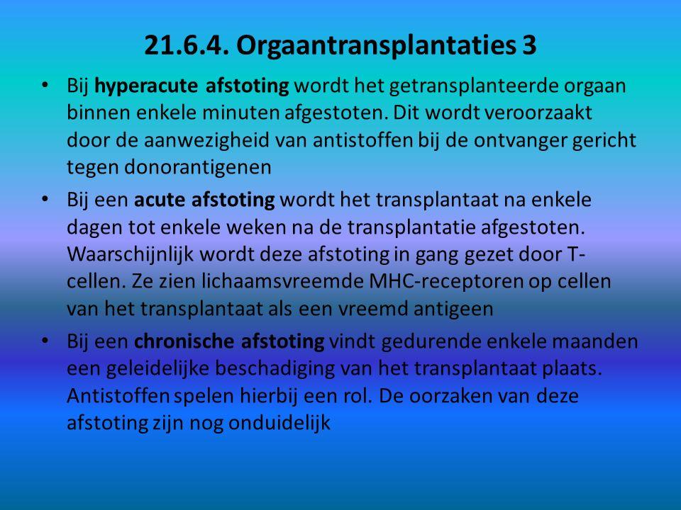 21.6.4. Orgaantransplantaties 3 Bij hyperacute afstoting wordt het getransplanteerde orgaan binnen enkele minuten afgestoten. Dit wordt veroorzaakt do