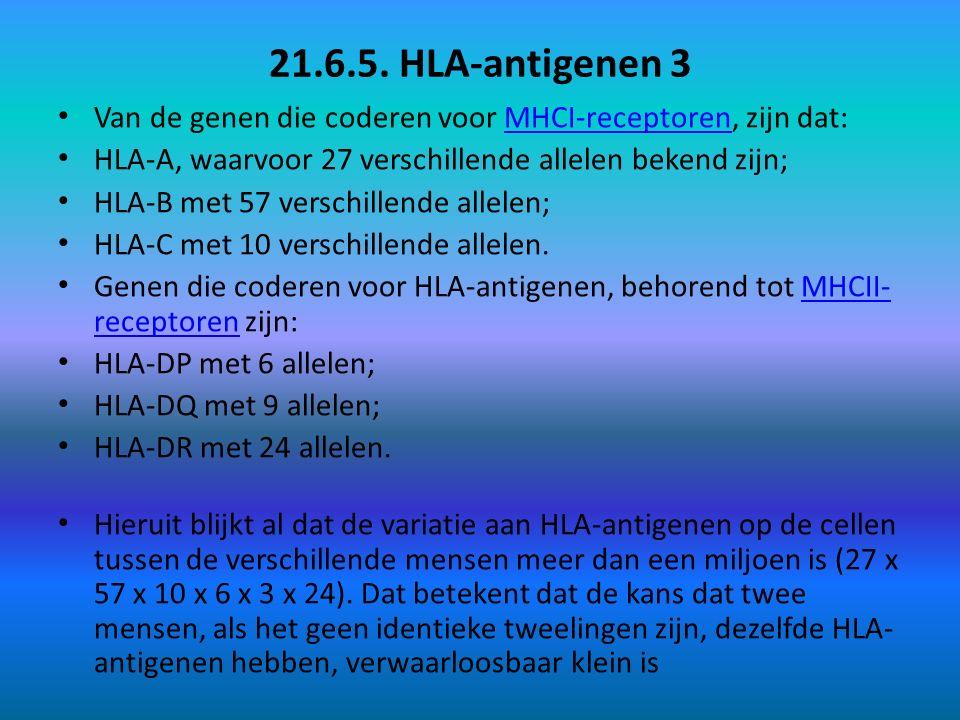 21.6.5. HLA-antigenen 3 Van de genen die coderen voor MHCI-receptoren, zijn dat: MHCI-receptoren HLA-A, waarvoor 27 verschillende allelen bekend zijn;