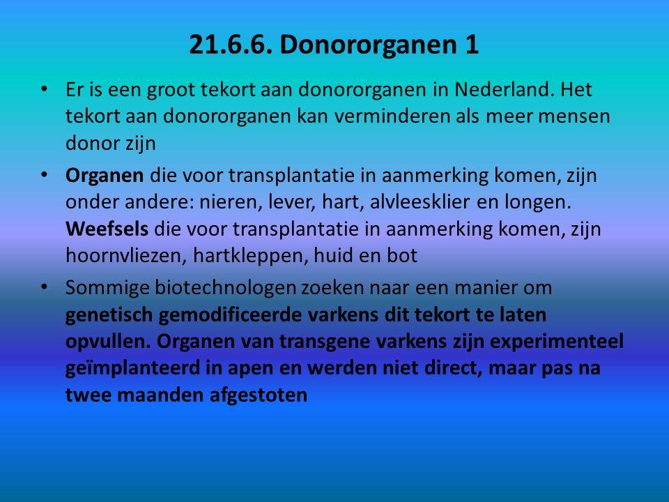 21.6.6. Donororganen 1 Er is een groot tekort aan donororganen in Nederland. Het tekort aan donororganen kan verminderen als meer mensen donor zijn Or