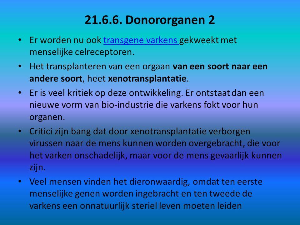 21.6.6. Donororganen 2 Er worden nu ook transgene varkens gekweekt met menselijke celreceptoren.transgene varkens Het transplanteren van een orgaan va