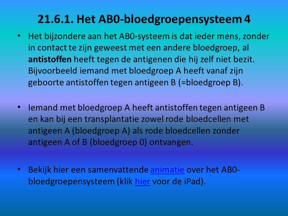 21.6.1. Het AB0-bloedgroepensysteem 4 Het bijzondere aan het AB0-systeem is dat ieder mens, zonder in contact te zijn geweest met een andere bloedgroe
