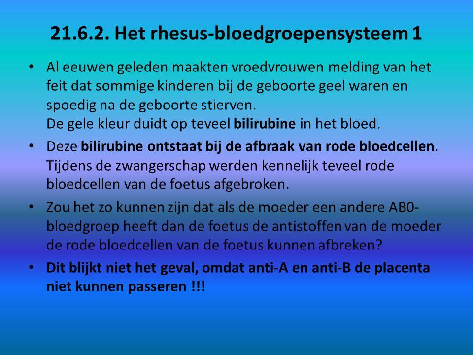 21.6.2. Het rhesus-bloedgroepensysteem 1 Al eeuwen geleden maakten vroedvrouwen melding van het feit dat sommige kinderen bij de geboorte geel waren e