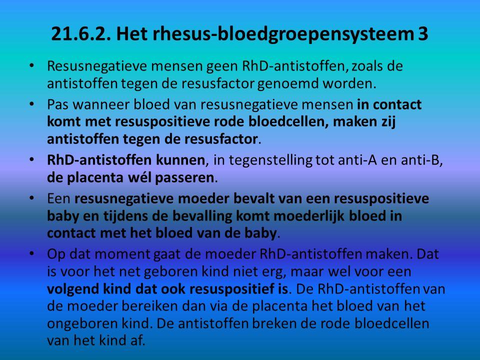 21.6.2. Het rhesus-bloedgroepensysteem 3 Resusnegatieve mensen geen RhD-antistoffen, zoals de antistoffen tegen de resusfactor genoemd worden. Pas wan