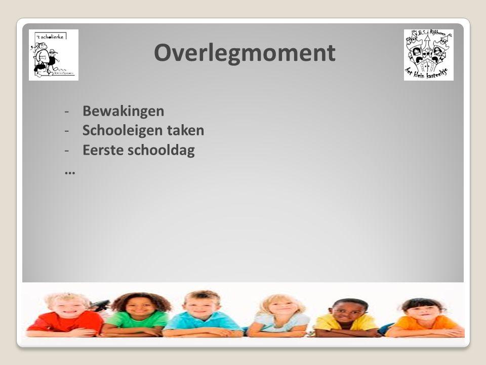 Overlegmoment -Bewakingen -Schooleigen taken -Eerste schooldag …