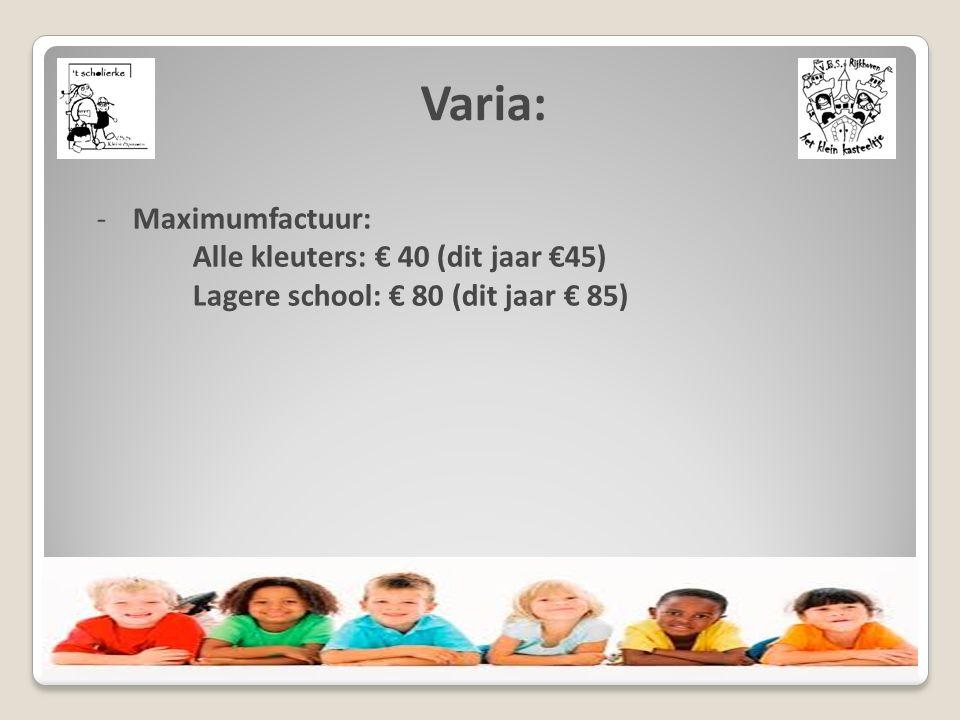 Varia: -Maximumfactuur: Alle kleuters: € 40 (dit jaar €45) Lagere school: € 80 (dit jaar € 85)