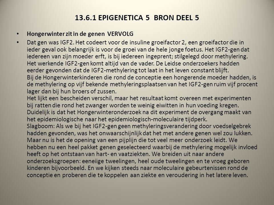 13.6.1 EPIGENETICA 5 BRON DEEL 5 Hongerwinter zit in de genen VERVOLG Dat gen was IGF2. Het codeert voor de insuline groeifactor 2, een groeifactor di