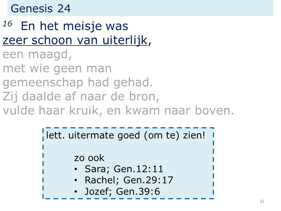 Genesis 24 16 En het meisje was zeer schoon van uiterlijk, een maagd, met wie geen man gemeenschap had gehad.